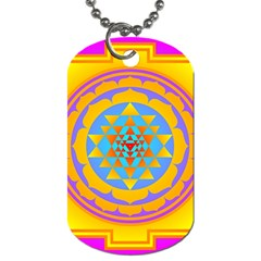 Triangle Orange Pink Dog Tag (one Side) by Mariart