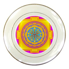 Triangle Orange Pink Porcelain Plates by Mariart