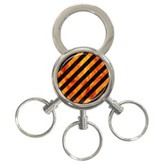 Stripes3 Black Marble & Fire 3 Ring Key Chains by trendistuff