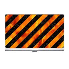 Stripes3 Black Marble & Fire Business Card Holders by trendistuff