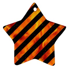 Stripes3 Black Marble & Fire Star Ornament (two Sides) by trendistuff