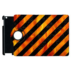 Stripes3 Black Marble & Fire Apple Ipad 3/4 Flip 360 Case by trendistuff