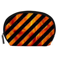 Stripes3 Black Marble & Fire Accessory Pouches (large)  by trendistuff