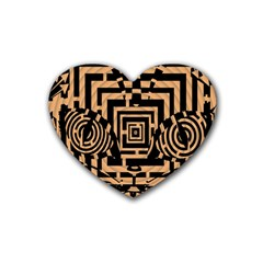 Wooden Cat Face Line Arrow Mask Plaid Rubber Coaster (heart)  by Mariart