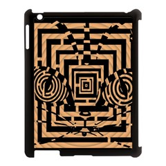 Wooden Cat Face Line Arrow Mask Plaid Apple Ipad 3/4 Case (black) by Mariart