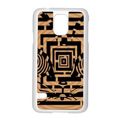 Wooden Cat Face Line Arrow Mask Plaid Samsung Galaxy S5 Case (white) by Mariart
