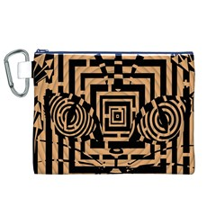 Wooden Cat Face Line Arrow Mask Plaid Canvas Cosmetic Bag (xl) by Mariart