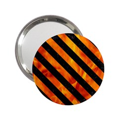 Stripes3 Black Marble & Fire (r) 2 25  Handbag Mirrors by trendistuff