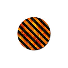 Stripes3 Black Marble & Fire (r) Golf Ball Marker by trendistuff