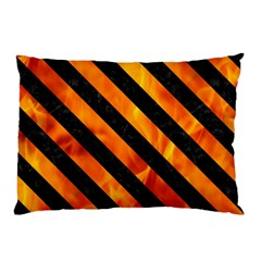 Stripes3 Black Marble & Fire (r) Pillow Case by trendistuff