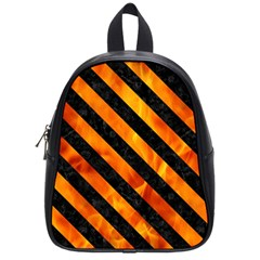 Stripes3 Black Marble & Fire (r) School Bag (small) by trendistuff