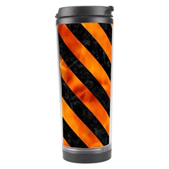 Stripes3 Black Marble & Fire (r) Travel Tumbler by trendistuff