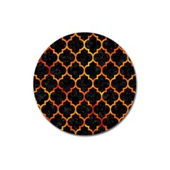 Tile1 Black Marble & Fire Magnet 3  (round) by trendistuff