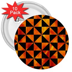 Triangle1 Black Marble & Fire 3  Buttons (10 Pack)  by trendistuff