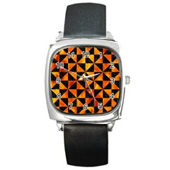 Triangle1 Black Marble & Fire Square Metal Watch by trendistuff