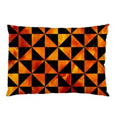 Triangle1 Black Marble & Fire Pillow Case by trendistuff