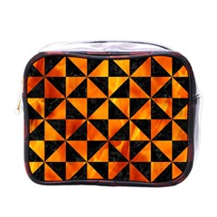 Triangle1 Black Marble & Fire Mini Toiletries Bags by trendistuff