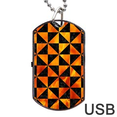 Triangle1 Black Marble & Fire Dog Tag Usb Flash (two Sides) by trendistuff