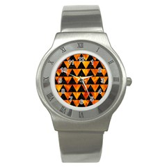Triangle2 Black Marble & Fire Stainless Steel Watch by trendistuff