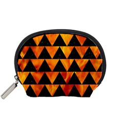 Triangle2 Black Marble & Fire Accessory Pouches (small)  by trendistuff
