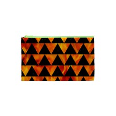Triangle2 Black Marble & Fire Cosmetic Bag (xs) by trendistuff