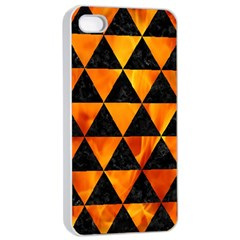 Triangle3 Black Marble & Fire Apple Iphone 4/4s Seamless Case (white) by trendistuff