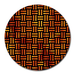 Woven1 Black Marble & Fire Round Mousepads by trendistuff