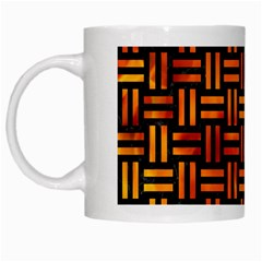 Woven1 Black Marble & Fire White Mugs by trendistuff