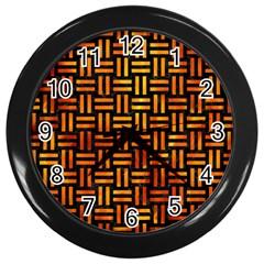 Woven1 Black Marble & Fire Wall Clocks (black) by trendistuff