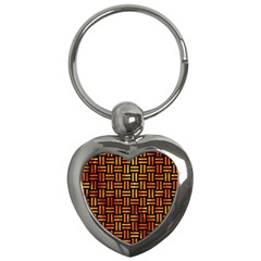 Woven1 Black Marble & Fire Key Chains (heart)  by trendistuff