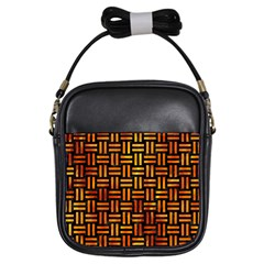 Woven1 Black Marble & Fire Girls Sling Bags by trendistuff