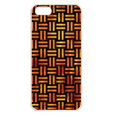 Woven1 Black Marble & Fire Apple Iphone 5 Seamless Case (white) by trendistuff