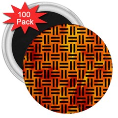 Woven1 Black Marble & Fire (r) 3  Magnets (100 Pack) by trendistuff