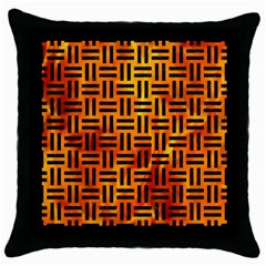 Woven1 Black Marble & Fire (r) Throw Pillow Case (black) by trendistuff