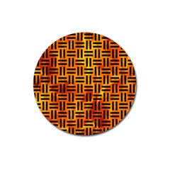 Woven1 Black Marble & Fire (r) Magnet 3  (round) by trendistuff