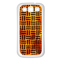 Woven1 Black Marble & Fire (r) Samsung Galaxy S3 Back Case (white) by trendistuff