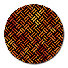 Woven2 Black Marble & Fire Round Mousepads by trendistuff