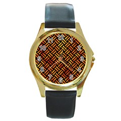 Woven2 Black Marble & Fire Round Gold Metal Watch by trendistuff