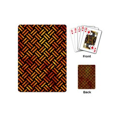 Woven2 Black Marble & Fire Playing Cards (mini)  by trendistuff