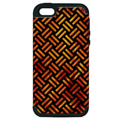 Woven2 Black Marble & Fire Apple Iphone 5 Hardshell Case (pc+silicone) by trendistuff
