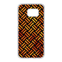 Woven2 Black Marble & Fire Samsung Galaxy S7 Edge White Seamless Case by trendistuff