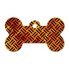 Woven2 Black Marble & Fire (r) Dog Tag Bone (two Sides) by trendistuff