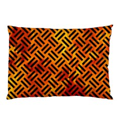Woven2 Black Marble & Fire (r) Pillow Case (two Sides) by trendistuff
