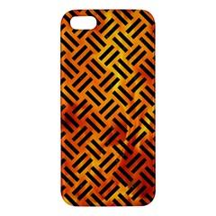 Woven2 Black Marble & Fire (r) Apple Iphone 5 Premium Hardshell Case by trendistuff