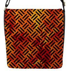 Woven2 Black Marble & Fire (r) Flap Messenger Bag (s) by trendistuff
