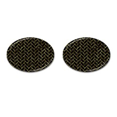 Brick2 Black Marble & Gold Foil Cufflinks (oval) by trendistuff