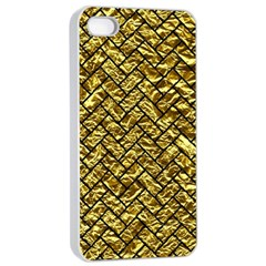 Brick2 Black Marble & Gold Foil (r) Apple Iphone 4/4s Seamless Case (white) by trendistuff