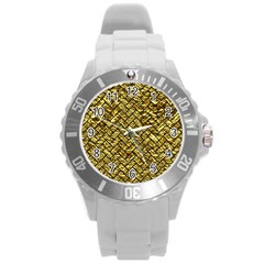 Brick2 Black Marble & Gold Foil (r) Round Plastic Sport Watch (l) by trendistuff