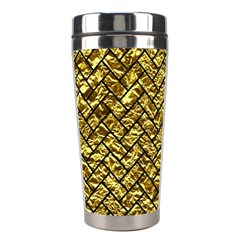 Brick2 Black Marble & Gold Foil (r) Stainless Steel Travel Tumblers by trendistuff