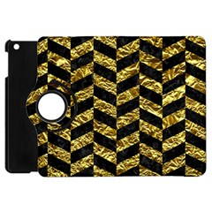 Chevron1 Black Marble & Gold Foil Apple Ipad Mini Flip 360 Case by trendistuff
